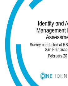 IAM Market Assessment  -  Survey Conducted at RSA Conference 2019