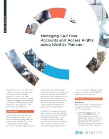 Managing SAP User Accounts and Access Rights using Identity Manager
