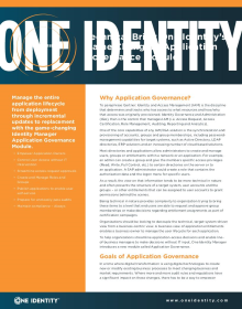 One Identity Manager Application Governance Module