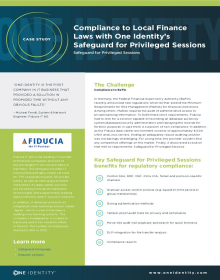Compliance to Local Finance Laws with One Identity Safeguard for Privileged Sessions