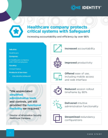 Healthcare company protects critical systems with Safeguard