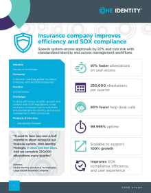 Leading global insurance company improves efficiency and SOX compliance