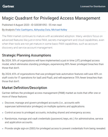 One Identity named a Visionary in its 2020 Gartner Magic Quadrant for Privileged Access Management